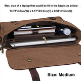 S-ZONE Vintage Canvas Genuine Leather Messenger Traveling Briefcase Shoulder Laptop Bag