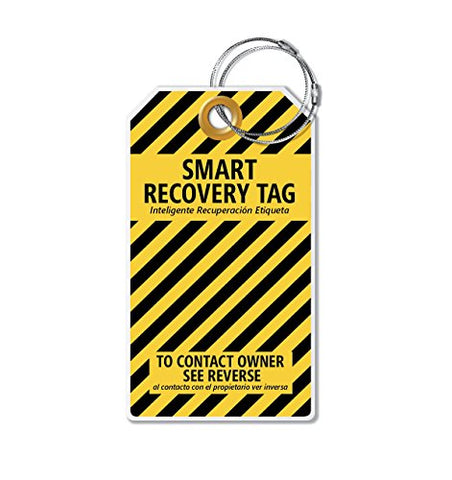Dynotag PROTAGZ series Web/GPS Enabled QR Smart MEGA Luggage Tag w. Double Steel Loops - in Six Designs (Bumblebee)