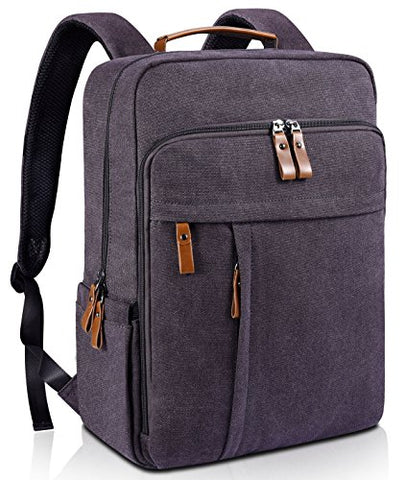 Estarer Laptop Backpack w/USB Charging Port for Men Women, Water Resistant Canvas Backpack School
