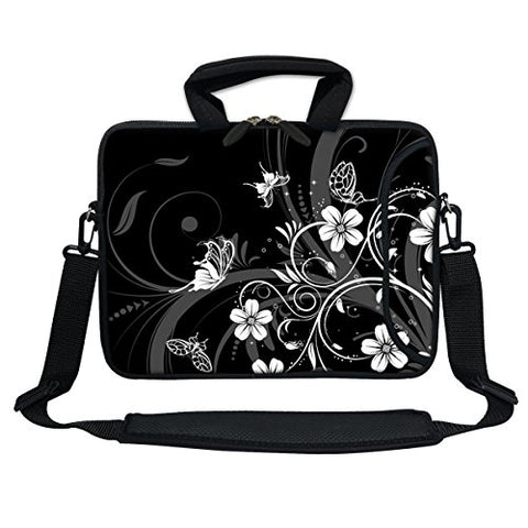 Meffort Inc 13 Inch Neoprene Laptop Bag with Extra Side Pocket, Soft Carrying Handle & Removable Shoulder Strap for 12.5 to 13.3 Inch Size Chromebook Ultrabook (Black White Flower Butterfly)