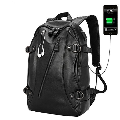 Samaz Backpack Pu Leather Bag With Usb Charging Port College Student School Backpack With