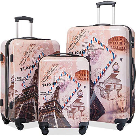 Flieks 3 Piece Luggage Set Hardside Suitcase with Spinner Wheels (Color4)