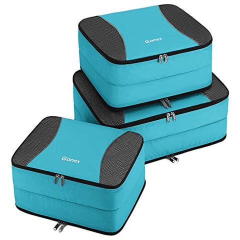 Gonex Large Packing Cubes, Double Sided Travel Suitcase Organizer 3 pcs Blue