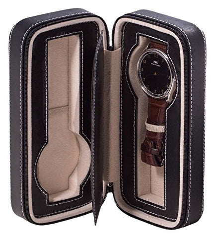 Time Factory Leather Two Watch Travel Case With Form Fit Compartments, Center Divider To Prevent