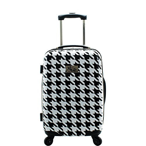Chariot Houndstooth 20-inch Hardside Lightweight Expandable Carry, White