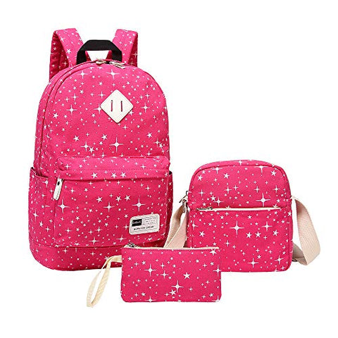 Schoolbag for High School,MeiLiio 3 Pcs/Set Fashion Studen Backpack Sets with Zipper Lunch Bag &