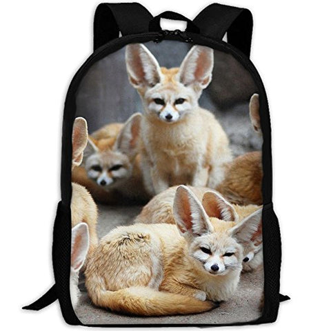 Cute Fennec Fox Animal Unique Outdoor Shoulders Bag Fabric Backpack Multipurpose Daypacks For Adult