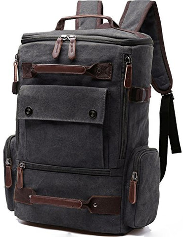 Aidonger Vintage Canvas Backpack Laptop Backpack Weekend Backpack (Black)