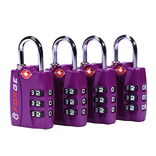 Forge TSA Lock Purple 4 Pack - Open Alert Indicator, Easy Read Dials, Alloy Body