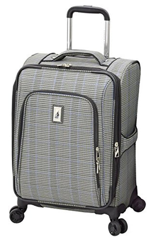 "London Fog Knightsbridge II 20"" Expandable Spinner Carry On, Grey Sapphire Plaid"