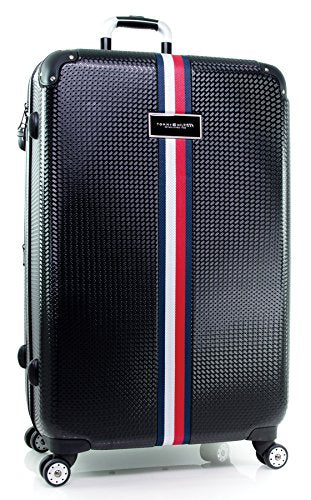 "Tommy Hilfiger Basketweave 28"" Expandable Hardside Spinner, Black"