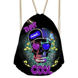 Bigcardesigns Drawstring Backpack Rucksack Shoulder Outdoor Sport Bag Skull