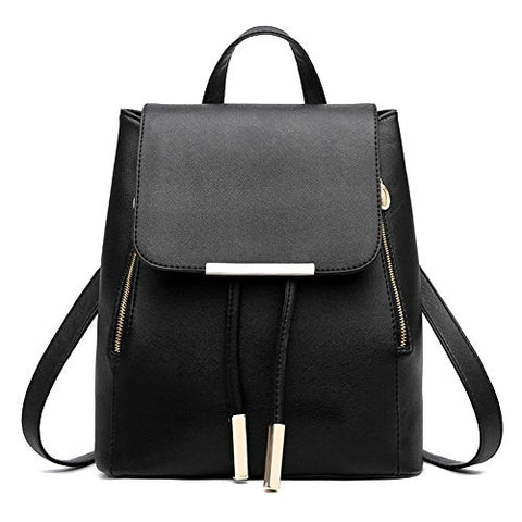 X-HAPPY Candy Color Soft PU Leather Backpack Cute Schoolbag Bookbag College Bag (black)