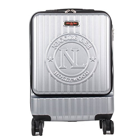 Nicole Lee Women'S Carry Hard Shell Travel Luggage, Laptop Compartment Rolling Wheels, Silver