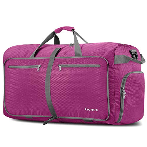 Gonex 100L Foldable Travel Duffel Bag for Luggage Gym Sports, Lightweight Travel Bag with Big Capacity, Water Repellent Rose Red