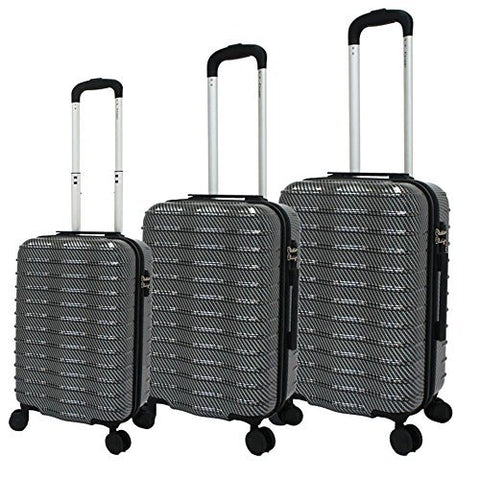Chariot Wave 3-Piece Hardside Expandable Lightweight Spinner Luggage Set, Black