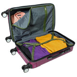 Amka 3-Piece Tsa Locks Hardside Upright Spinner Luggage Set, Purple
