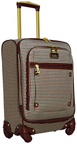 "Nicole Miller New York Coralie Collection 20"" Carry On Expandable Upright Luggage Spinner (20 in, Taylor Brown Plaid)"