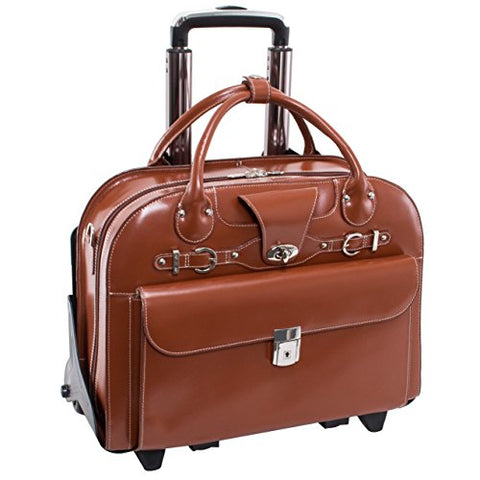 "Mcklein Usa Roseville Brown 15.6"" Leather Fly, Friendly Detachable, Wheeled Ladies' Briefcase"