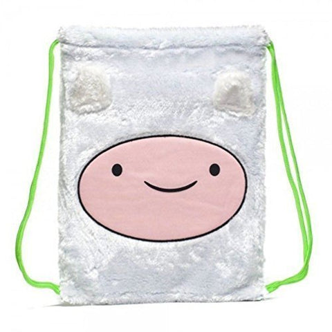 Adventure Time Finn Plush Furry White Cinch Laptop Bag Back Pack New w Tags