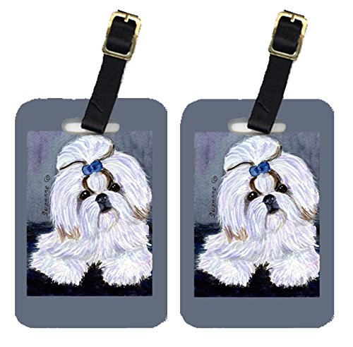 Caroline's Treasures SS8685BT Pair of 2 Shih Tzu Luggage Tags, Large, multicolor