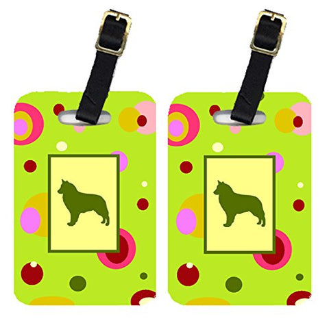 Caroline's Treasures CK1115BT Pair of 2 Belgian Sheepdog Luggage Tags, Large, multicolor