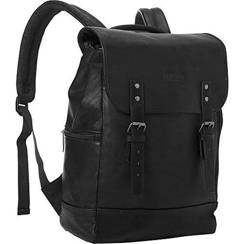 "Kenneth Cole Reaction Colombian Leather Single Gusset Flapover Computer Backpack, 14.1"", Black"