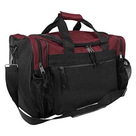 "DALIX 17"" Duffle Bag Front Mesh Pockets in Maroon"