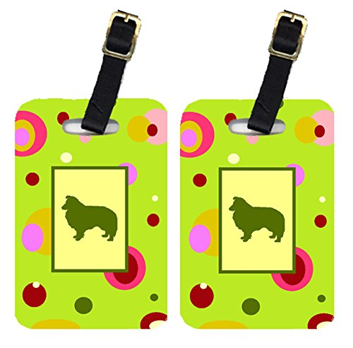 Caroline's Treasures CK1148BT Pair of 2 Sheltie Luggage Tags, Large, multicolor