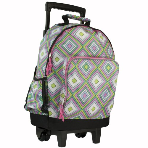 Wildkin Pink Retro High Roller Rolling Backpack