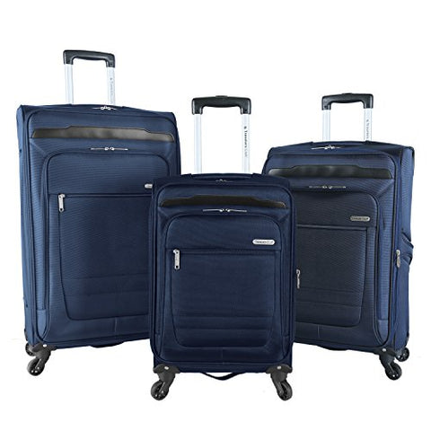 Travelers Club Luggage 3 Piece Top Durable Expandable Spinner Luggage Set, Blue