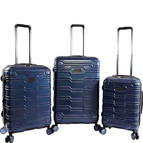 ORIGINAL PENGUIN Collins 3 Piece Set Expandable Suitcase with Spinner Wheels, Metallic Blue