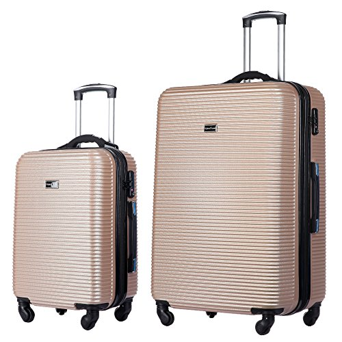 2 Pc Luggage Set Durable Lightweight Hard Case Spinner Suitecase 20In29In Lug2 Ly06Scale Champagne