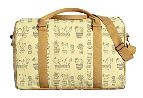 Sketch Cactus Printed Canvas Duffle Luggage Travel Bag Was_42