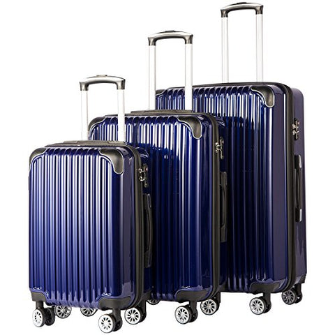 Coolife Luggage Expandable 3 Piece Sets Pc+Abs Spinner Suitcase 20 Inch 24 Inch 28 Inch (Navy)