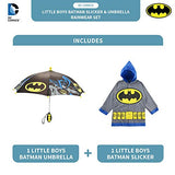 DC Comics Boys' Little Batman Character Slicker and Umbrella Rainwear Set, Gray, Age 4-5