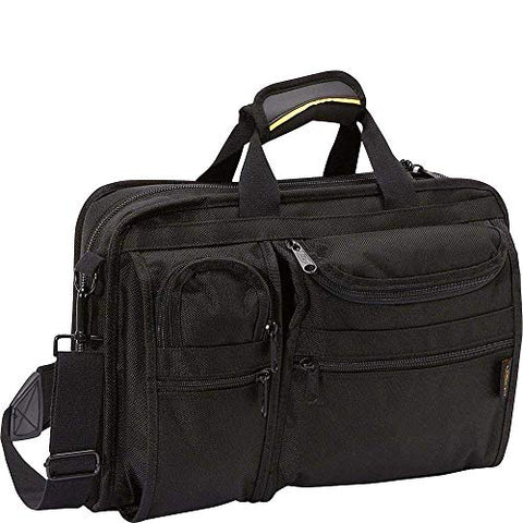 A.Saks Ballistic Nylon Organizer Briefcase With Laptop Compartment in Black