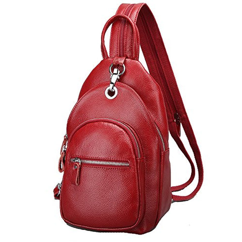 Sealinf Women'S Leather Backpack Convertible Daypack Chest Shoulder Bag Sling Purse (Wine Red)