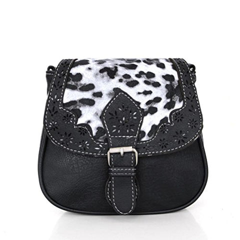 Bibitime Hollow Flower Design Ethnic & Leopard Cross Body Bags Phone Change Bag Handbag Messenger