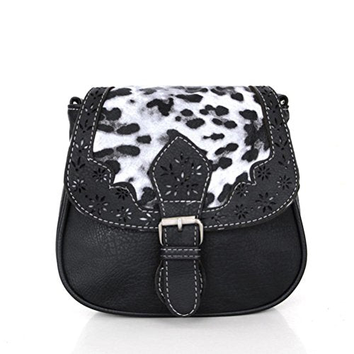 BIBITIME Hollow Flower Design Ethnic & Leopard Cross body Bags Phone Change Bag Handbag Messenger Bag CrossBody Bag Travel Bag for Holiday Back to School University /College Campus Bag Shopping Hobo (LHW : 7.87 7.09 3.54 IN, Black)