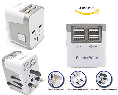 Power Plug Adapter - International Travel - W/ 4 Usb Ports Work For 150+ Countries - 220 Volt