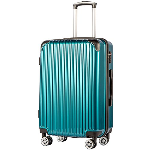 "COOLIFE Luggage Expandable(only 28"") Suitcase PC+ABS Spinner 20in 24in 28in Carry on (Green New, S(20in)_Carry on)"