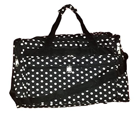 22 Inch Fashion Multi Pocket Gym Dance Cheer Travel Carry On / Duffle Bag (Blank - Black W/ White
