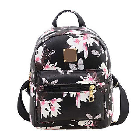 Women Girls Mini Backpack Fashion Causal Floral Printing Leather Bag