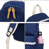 S Kaiko Canvas Backpack School Bakcpack For Women And Men Polka Dots Sweet Lace School Bag
