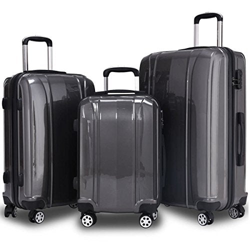 "GHP 20"" 24"" 28"" ABS & PC Shell Gray Trolley Suitcase Travelling Luggage Set w Wheels"