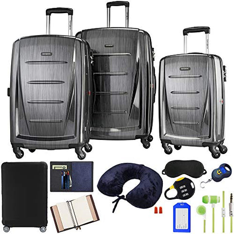 Samsonite Winfield 2 Fashion 3-Piece Spinner Set - Charcoal with Accessory Kit