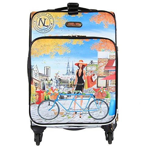 "Nicole Lee Women'S 20"" 4 Wheels Expandable Carry-On Luggage Paris City Print, Bicycle"