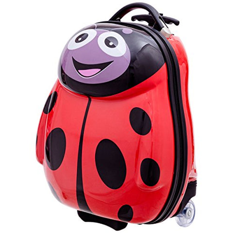 GHP Set of 2 Polycarbonate ABS Material & Nylon Travelling Ladybug-Shaped Luggage Set
