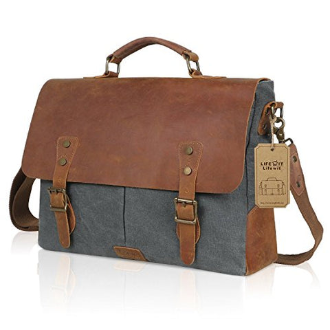 "Lifewit Genuine Leather Vintage 15.6"" Laptop Canvas Messenger Satchel Bag (Grey)"
